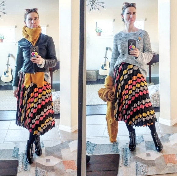 Zara Dresses & Skirts - Zara pleated colorful  skirt
